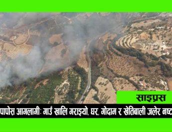 पापोस आगलागी: गाउँ खालि गराइयो, घर र गोदाम र खेतिबाली जलेर नष्ट